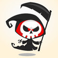 Cute cartoon grim reaper with scythe isolated on white. Cute Halloween skeleton death character icon Royalty Free Stock Photo