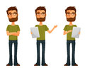 Cute cartoon guy with beard and glasses in various poses Stock Photography