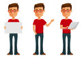 Cute cartoon guy in various poses glasses Stock Images