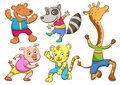 Cute cartoon happy animal set eps file simple technique no gradients no effects no mesh no transparencies Stock Images