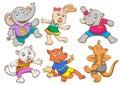 Cute cartoon happy animal set eps file simple technique no gradients no effects no mesh no transparencies Stock Image