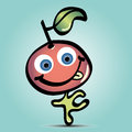 Cute cartoon happy cherry with tongue