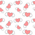 Cute cartoon heart with wings valentine romantic seamless pattern background illustration