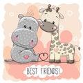 Cute Cartoon Hippol And Giraffe