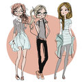 Cute cartoon hipster girls