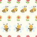 Cute cartoon honey bees and flowers on subtle yellow honeycomb background. Seamless geometric vector pattern. Great for