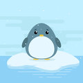 Cute cartoon illustration of penguin on iceberg in antarctica. Cold weather with snow.