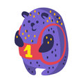 Cute cartoon indigo blue teddy bear with number one sitting. Funny lovely animal colorful character vector Illustration
