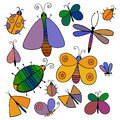 Cute cartoon insect set. Dragonflies, butterflies and bugs. . Vector illustration. Royalty Free Stock Photo