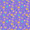 Cute cartoon insect set. Dragonflies, butterflies and flowers. Vector seamless pattern. Royalty Free Stock Photo