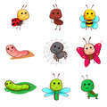 Cute cartoon insects and bugs a vector illustration of icon Royalty Free Stock Photos