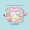 Cute cartoon intestine with reminder