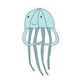 Cute cartoon jellyfish character, vector isolated illustration in simple style.