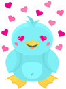 Cute cartoon kawaii style bird in love super blue water with hearts for eyes Stock Photography