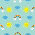 Cute cartoon kawaii sun, cloud with rain, rainbow set. Smiling face emotion. Baby character Seamless Pattern Wrapping paper