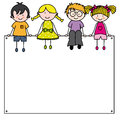 Cute cartoon kids frame space for text or photo Stock Photo