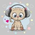 Cute cartoon Kitten with headphones