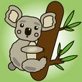 Cute cartoon koala on the tree