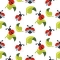 Cute cartoon ladybug on green leaves seamless vector pattern.