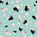 Cute cartoon laptop and cat vector seamless pattern background. Black feline, coffee break in business office. Hand