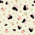 Cute cartoon laptop and cat vector seamless pattern background. Black feline, note book and coffee cups mint green