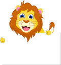 Cute cartoon lion with blank sign illustration of Royalty Free Stock Photos