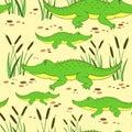 Cute cartoon little crocodile in reed isolated on yellow background, Vector doodle Illustration alligator, wild animal