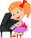 Cute cartoon little girl playing piano illustration of Stock Photography