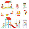 Cute cartoon little kids playing and having fun at the playground set, children playing outdoors vector Illustrations