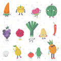 Cute cartoon live fruits and vegetables vector set. Part one.