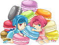 Cute cartoon macaron nymphs with pile of colorful macarons in the background