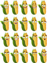 Cute cartoon maize smile with many expressions Stock Photos