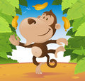 Cute cartoon Monkey juggling in the jungle. Stock Photos