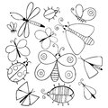 Cute cartoon monochrome insect set. Dragonflies, butterflies and bugs. Vector illustration. Royalty Free Stock Photo