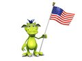 Cute cartoon monster holding an American flag. Stock Images