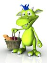 Cute cartoon monster holding a picnic basket in his hand white background Royalty Free Stock Images