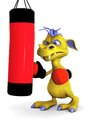 Cute cartoon monster punching a heavy bag. Royalty Free Stock Images