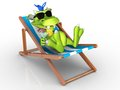 Cute cartoon monster relaxing in a beach chair he is wearing sun glasses and holding an exotic drink his hand white Royalty Free Stock Image