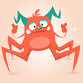 Cute cartoon monster spider. Halloween pink and horned monster character. on light background