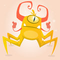 Cute cartoon monster spider. Halloween yellow and horned monster character with one eye.  on light background Royalty Free Stock Photo