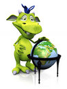 Cute cartoon monster with terrestrial globe. Royalty Free Stock Photo