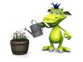 Cute cartoon monster watering flowers. Royalty Free Stock Photo