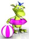 Cute cartoon monster wearing bathing ring. Royalty Free Stock Photo