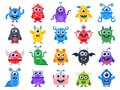 Cute cartoon monsters. Comic halloween joyful monster characters. Funny devil, ugly alien and smile creature flat vector Royalty Free Stock Photo