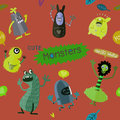 Cute Cartoon Monsters, Vector cute monsters set collection isola