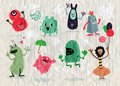 Cute Cartoon Monsters,Vector cute monsters set collection isolat