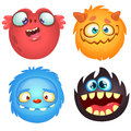 Cute cartoon monsters. Vector set of 4 Halloween monster icons.