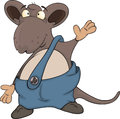 Cute cartoon mouse grey little in dark blue shorts Stock Photography