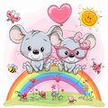 Cute Cartoon mouses are sitting on the rainbow Royalty Free Stock Photo