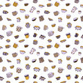 Cute cartoon naive cups seamless vector pattern. Kids style drawing. Royalty Free Stock Photo